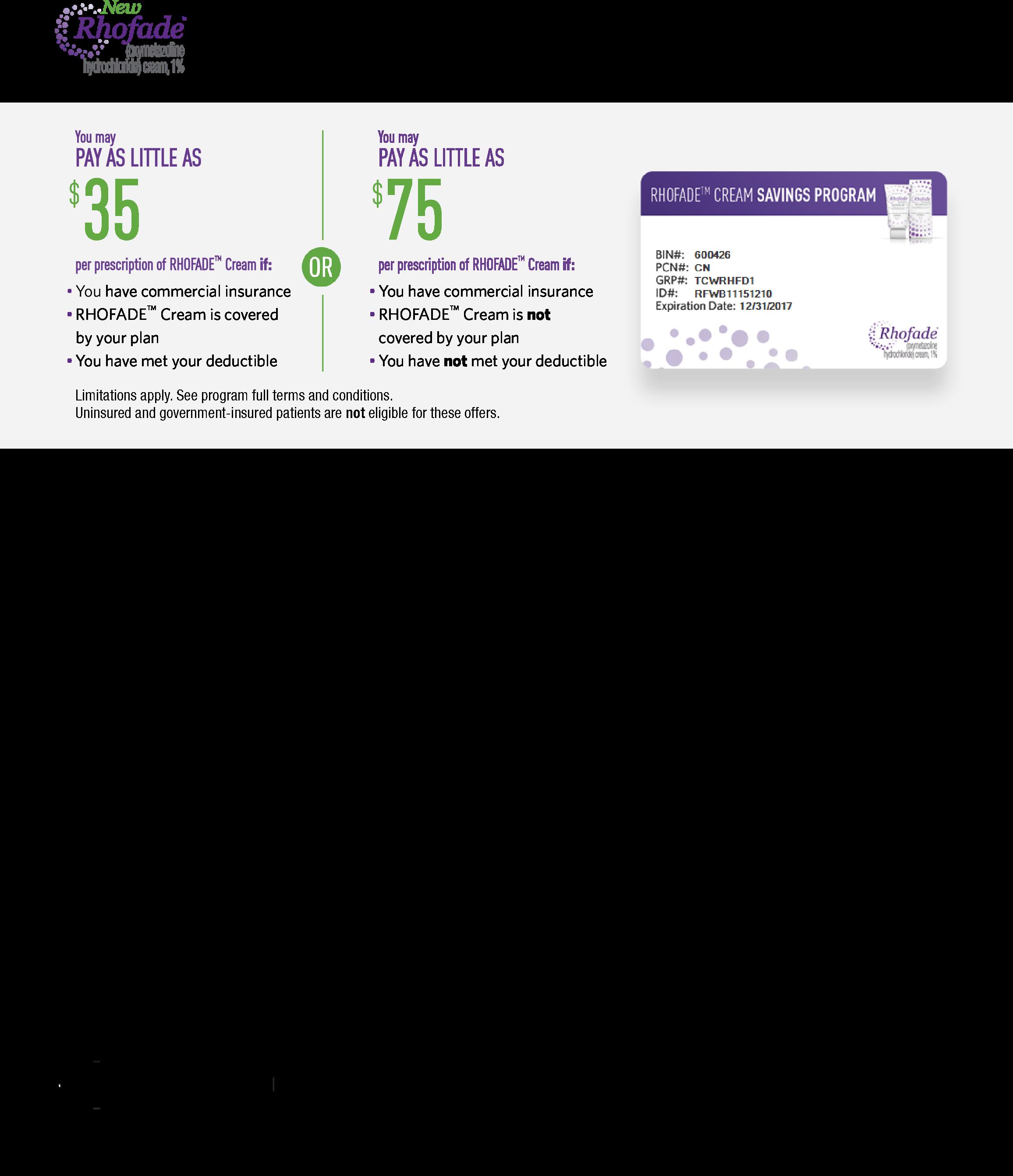 RHOFADE® (oxymetazoline HCl) Cream, 1% | Savings | RHOFADE<sup